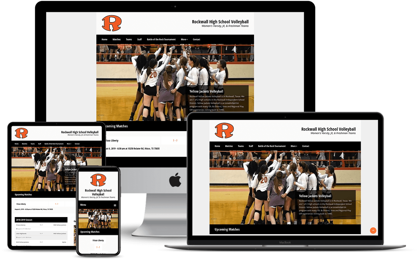 Rockwall High School Volleyball Team website mockup for rockwallhsvolleyball.com